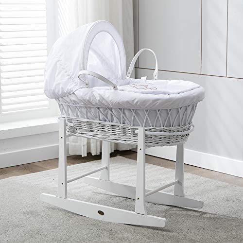 Babykorb, weide, in weiss, Komplettset mit Matratze, Bezug und Schaukelgestell von MCC