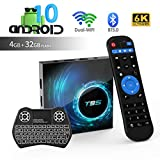 Android TV Box,T95 Android 10.0 TV Box 4 Go de RAM / 32 Go de ROM H616 Quad Core 64 Bits, Prend en Charge 2.4G + 5G Dual WiFi BT5.0 6K 3D H.265 Smart TV Boxes avec Mini Clavier rétroéclairé sans Fil