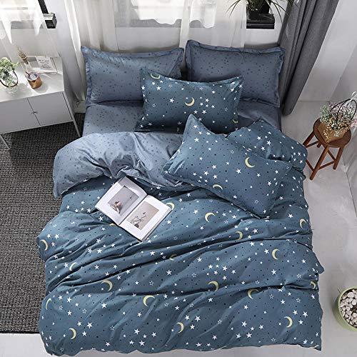 DJOIEPO Set Copripiumino Una Piazza e Mezza 200x200cm Parure Copripiumino Bed Linen in 100% Microfibra Biancheria da Letto 3pz con 2 Federe Cuscini 50x75cm Stelle Blu Luna