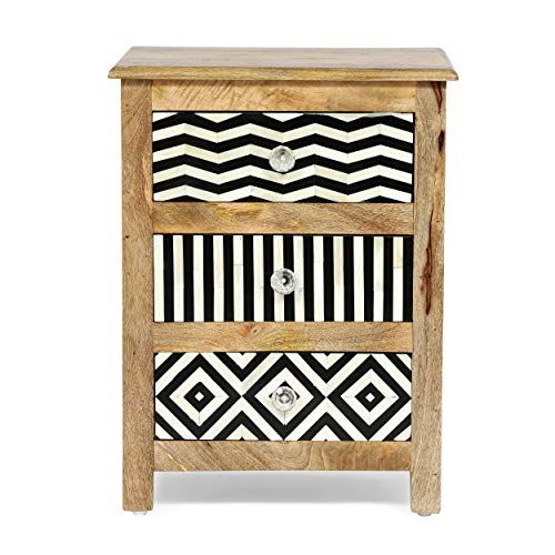 Christopher Knight Home Charles Handcrafted Boho 3 Drawer Mango Wood Nightstand, Natural + Black