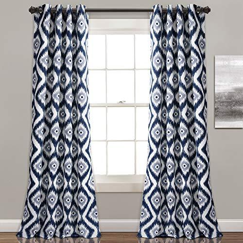 Lush Decor Lush Décor Diamond Ikat Room Darkening Window Curtain Panel Pair, 0, Navy, 2 Count