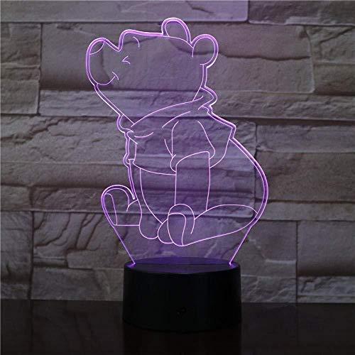 Led Veilleuse L'Ourson Capteur Décor Ours 3D Led Lampe Adolescent S Préféré Mr Usb Veilleuse De Chevet Optique