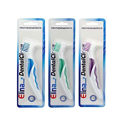 3 Stk. Zahnbürste Elina Prothesenbürste 16cm Mundhygiene SET, farblich sortiert