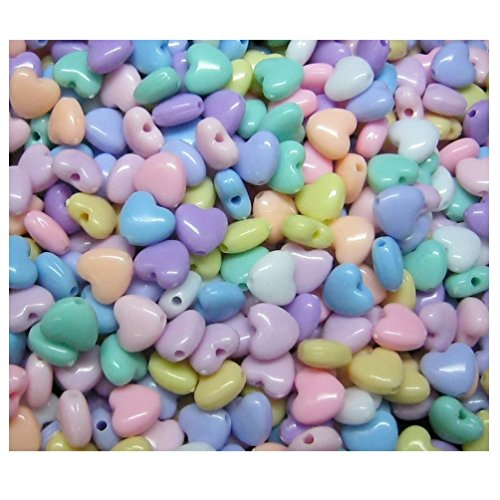 Lot of 150pcs Acrylic Heart Beads 9 mm Assorted Candy Color Mix Plastic Pastel Beads Bracelet Kawaii Rainbow Necklace Jewelry Making Craft Kits Kids