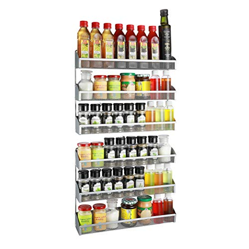 2 Pack- Simple Trending 3 Tier Spice Rack Organizer Wall Mounted Spice Shelf Storage Holder for Kitchen Cabinet Pantry Door Silver