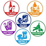 6 Pieces Recycle Sticker Decal for Trash Can, Re-Adjustable Waterproof Bin Labels Paper Metal Plastic Glass Waste Sorting Recycling Sticker Sign for Use in Home and Office