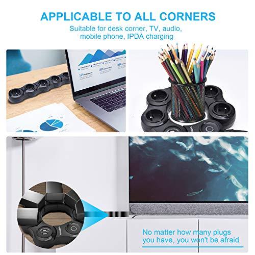 VASTFAFA Multiprise Parasurtenseur Parafoudre,Bloc Multiprise avec 4 Prises Electrique et 2 Ports USB(5V,2.4A),Interrupteur,Adaptateur Douille,Cordon de 1.5m- Noir