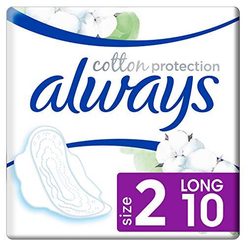 Always Cotton Protection Ultra Long (Taille2) Serviettes Hygiéniques Avec Ailettes x10