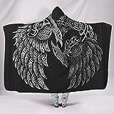 KASTLEE Viking Odin's Ravens Huginn and Muninn Knot Hooded Blankets Throw Cloak Cape Premium Sherpa Fleece Winter Blanket White 60x80 inch