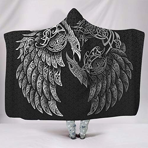 KASTLEE Viking Odin's Ravens Huginn and Muninn Knot Hooded Blankets Throw Cloak Cape Premium Sherpa Fleece Winter Blanket White 60x80 inch