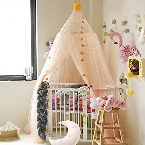 Nibesser Baldachin für Kinder//Babys 100/% Polyester Gewebe Romantischer Betthimmel Moskitonetz Kinderbett für Kinderzimmer Hohe 240cm Housewarming Beige