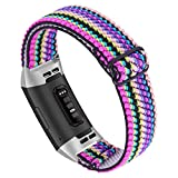 Joyozy Adjustable Elastic Bands Compatible for Fitbit Charge 3/Fitbit Charge 4/Charge 3 SE,Stretchy Soft Nylon Replacement Loop Wristband Accessories Dressy Strap for Women Girl (Colorful Stripe)
