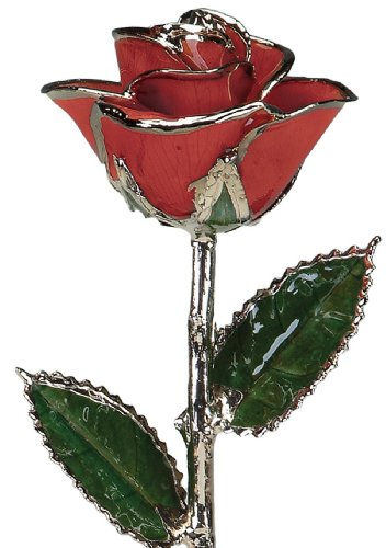 Red Laquered Platinum Dipped Long Stem Genuine Rose In Gift Box