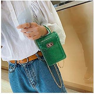 Adebie - Mini Clear Tote Bag 2019 Spring Fashion New Quality Jelly Bag Women Designer Handbag Lock Chain Shoulder Messenger Bag Phone Bag 12 X 5 X 16 cm Green []