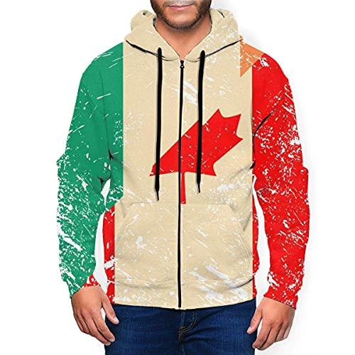 Felpa sportiva da uomo con cappuccio e bandiera retrò Canada e Irlanda, Multicolore, M