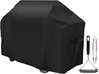 YaTer Gas Grill Cover, 58 inch 600D Waterproof BBQ Grill Cover for Weber Genesis 3 Burner Grill and Genesis 300 Series Grills (Compared to 7130) UV & Dust & Water Resistant, Including Brush, Tongs