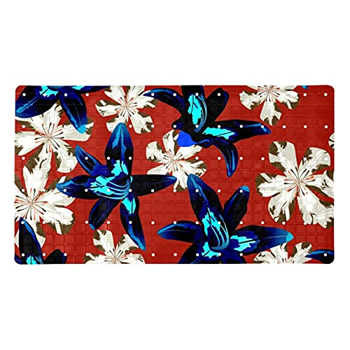 Alfombrilla de ducha antideslizante para bañera con diseño de flores filipinas de la selva australiana con ventosas y agujeros de drenaje, alfombrilla de ducha suave de 39,8 x 70,9 cm