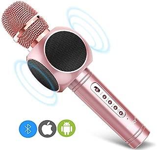 ERAY Micrófono Inalámbrico Karaoke, Micrófono karaoke Bluetooth 4 en 1, 2 Altavoces Incorporados, 3.5mm AUX, Compatible con PC/iPad/iPhone/Smartphone, Color Rosado