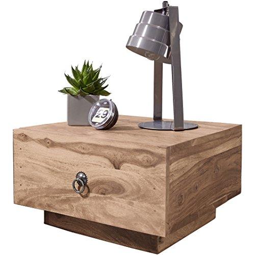 WOHNLING nachtkastje massief hout acacia design nachtkastje 25 cm hoog met lade nachtkastje natuurlijk hout 40 x 40 cm nachtkastje donkerbruin deco nachtkastje landhuisstijl slaapkamermeubel