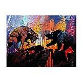 HYY-YY Pinturas abstractas Coloridas de toros y Osos Impresiones de Arte de Pared en Lienzo Cuadro de póster Living Office Home Wall Cuadros Decoración 19.6'x35.4 (50x90cm) Sin Marco