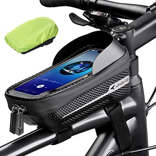 Whale Fall Waterproof Bike Frame Bag Bike Phone Bag Bicycle Cell Phone Holder for GPS - Bicycle Bag Frame Hard Eva Navi Pressure-Resistant Handlebar Bag TPU Touch-Screen with Sun-Visor and Rain Cover