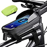 Whale Fall Waterproof Bike Frame Bag Bike Phone Bag Bicycle Cell Phone Holder for GPS - Bicycle Bag Frame Hard Eva Navi Pressure-Resistant Handlebar Bag TPU Touch-Screen with Sun-Visor and Rain Cover