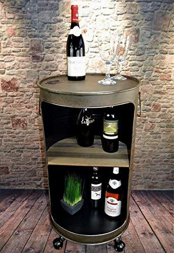 Livitat® Minibar Hausbar Regaltonne Ölfass H80 cm Industrie Look Rost Loft Vintage LV5055