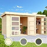 Hori Gartenhaus I Gerätehaus Saltum aus Holz I nordische Fichte Natur I 428 x 238 cm - 19 mm Bohlenstärke