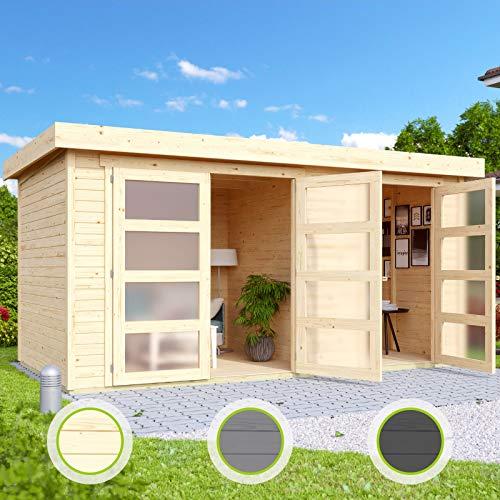 Hori® Gartenhaus I Gerätehaus Saltum aus Holz I nordische Fichte hellgrau I 428 x 238 cm - 19 mm Bohlenstärke