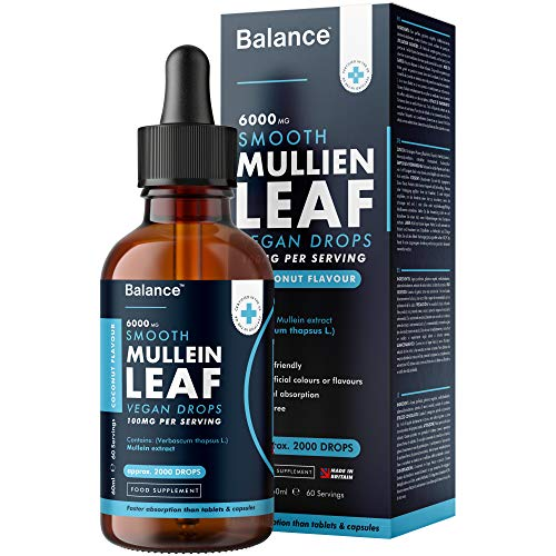 Balance Mullein Leaf Liquid Drops - 60ml 2 Month Supply 6000mg per Bottle - Sublingual Fast Absorption - GMO Free - Premium Quality - Made in UK