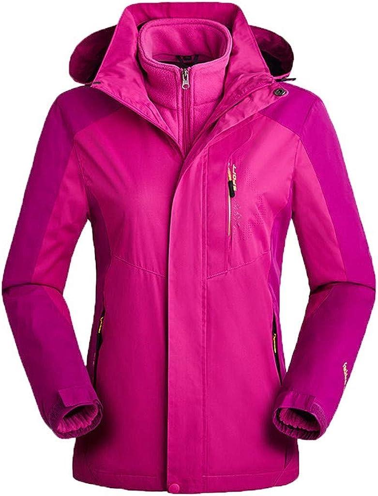 Kangma Woman's Winter Two-Piece Flannel Jacket Coat Solid Rain Jackets Windbreaker Rainwear Outdoor Sport Coat