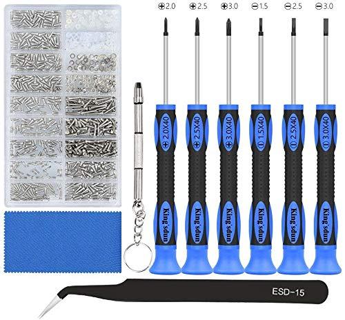 Brillen Reparatur Kit mit 1000 kleinen Schrauben und 6 Magnetischer Schraubendreher Brillenreparatur-Set Brillen Reparatur Werkzeugsatz für Brille Uhren Laptop Schmuck