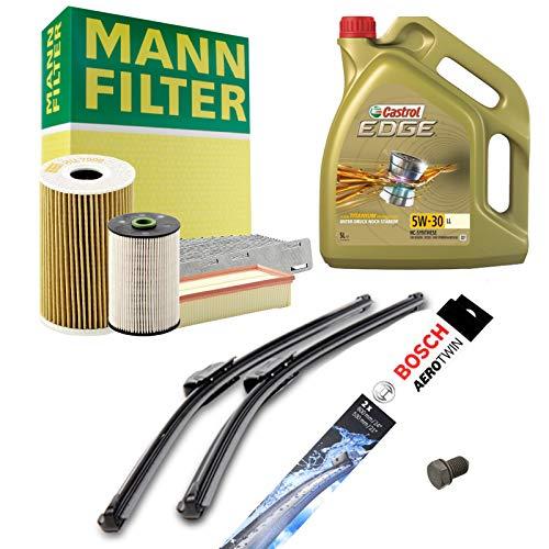 Inspektionspaket MANN-FILTER Inkl. 5L Castrol Edge 5W30 + Scheibenwischer SET P-H-06-00055 Service/Wartung
