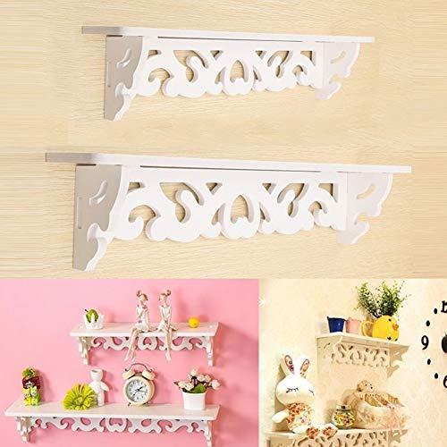 CHicoco Fashion Wood Carved Wall Shelf Shelves Holder Storage Rack Stand Home M