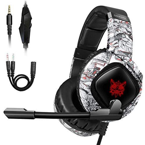 JINGQII Auriculares para videojuegos, 3,5 mm, estéreo, con micrófono y luz LED, cancelación de ruido, para Xbox One, PS4, Nintendo Switch, PC