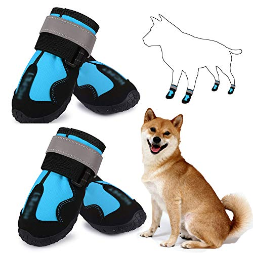 NXX Pet Dog Rain Boots Non-Slip Waterproof Shoes with Best Reflective Straps with Wear-Resistant and Rugged Anti-Slip Sole Suitable for Small Medium Large Dog Outdoor,Blue,6#