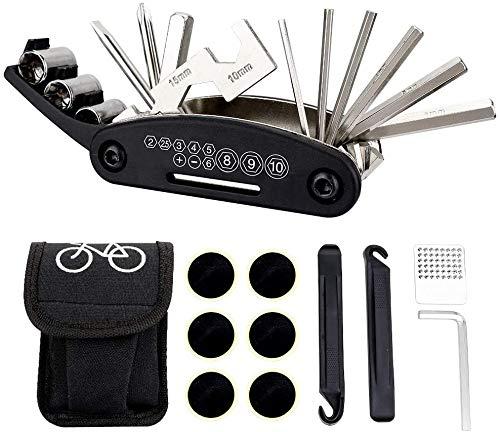 N+A Multitool Fahrrad Reparatur Set, 16 in 1 Fahrrad Werkzeug Reparaturset, Praktisches Werkzeug zur Reparatur von Fahrrädern in Notsituationen