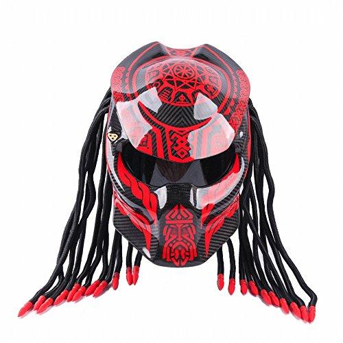 GUO Casque de Personnalité de Moto Predator Warrior Carbon Fiber Helmet,Une,M