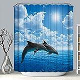Topmail 3D Duschvorhang aus Polyester mit 12 Duschvorhangringe für Badezimmer wasserabweisend & Anti-Schimmel waschbare badvorhang (Delphin, 180 x 200 cm)