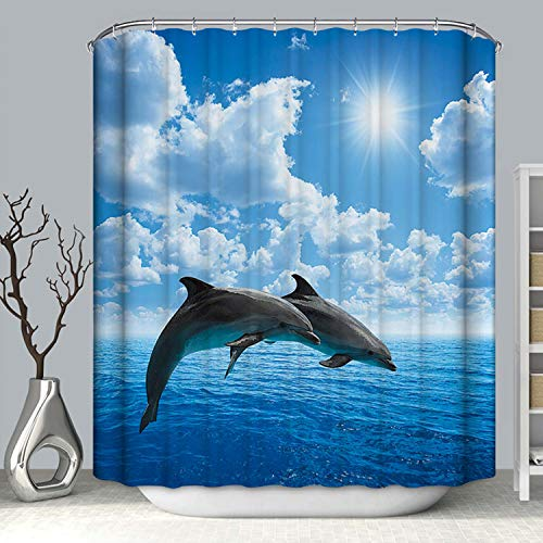 Topmail 3D Duschvorhang aus Polyester mit 12 Duschvorhangringe für Badezimmer wasserabweisend & Anti-Schimmel waschbare badvorhang (Delphin, 180 x180 cm)