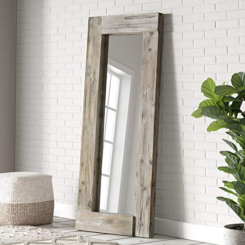 "Barnyard Designs 24"" x 58"" Decorative Wall or Floor Mirror, Rustic Distressed Unfinished Wood Frame, Vertical and Horizontal Hanging Farmhouse Mirror Decor, Natural"