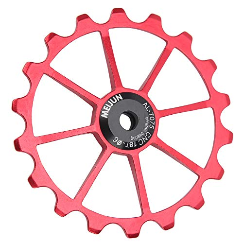 Alomejor Ruedas de polea de Cambio Trasero de Bicicleta de guía Trasera de Rodillo guía 18T para Accesorio de Bicicleta de montaña de Carretera(Rojo)