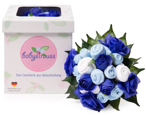 babystrauss Jungen groß - das Original aus Deutschland - Babykleidung als Blumenstrauß zur Geburt, Taufe und Babyparty