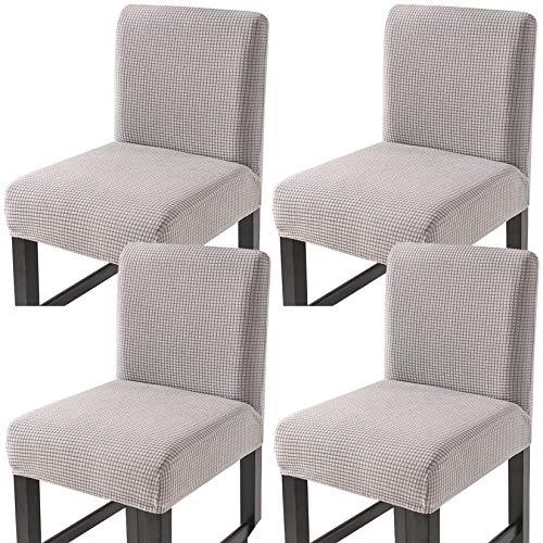 Facai - Fodera per sgabello da bar con schienale, set di 4 fodere elastiche per sedia da sala da pranzo, sgabelli alti estensibili, colore: Grigio