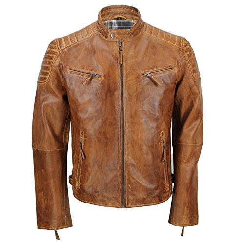 Chaqueta de piel suave para hombre, corte ajustado, chaqueta estilo biker con cremallera, retro, color marrón lavado Tan Brown Large