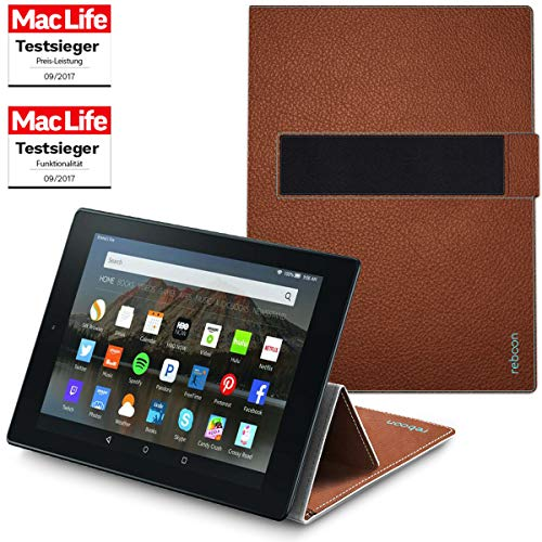 Hülle für Amazon Fire HD 10 Tablet Cover Case Bumper | in Braun Leder | Testsieger