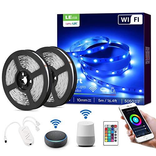 LE Smart LED Strip 10M(2x5M),RGB LED Streifen Wifi, Wlan LED Band, Superhell 5050 Selbstklebend Lichtband, [nur 2.4GHz]Lichterkette mit Fernbedienung, Kompatibel mit Alexa, App, Google Home, IP20