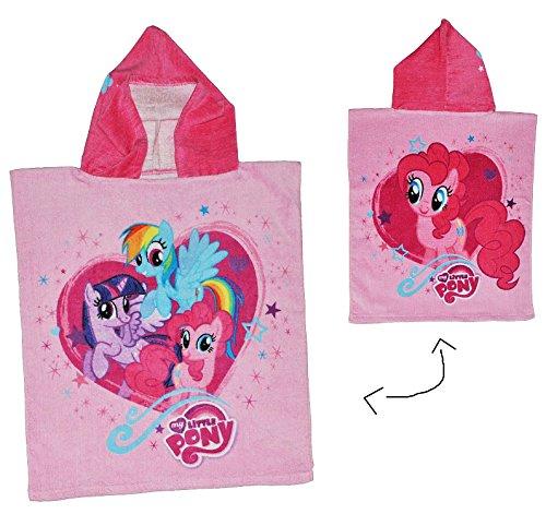 My Little Pony  - Badeponcho - 4 bis 8 Jahre Poncho - mit Kapuze - 50 cm * 115 cm - Handtuch Strandtuch Baumwolle - Mein kleines Pferd Mädchen für Kinder B..
