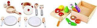 Hape(ハペ) キッチンおままごとセット E3150A & 新鮮お野菜&果物 E8269【セット買い】