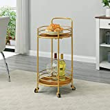 FirsTime & Co. Gold and Brown Joliet Round Bar Cart, American Designed, Gold, 16 x 16 x 33.5 inches, Gold & Brown (70273)